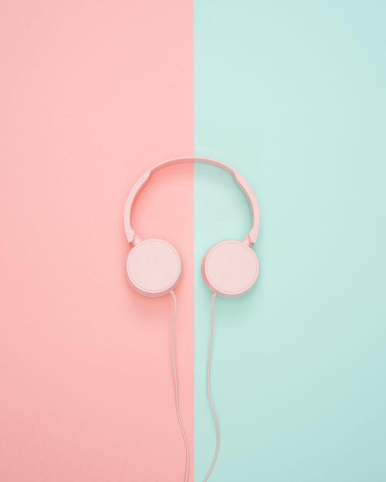 casque musique rose