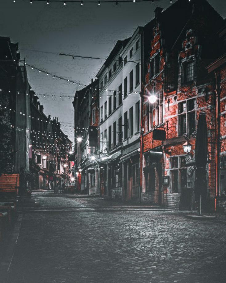 ruelle de Bruxelles sombre la nuit